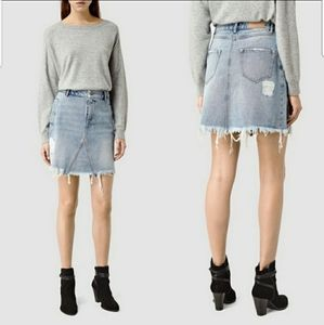 All Saints Lari Jean Skirt 2 Distressed Denim Rip
